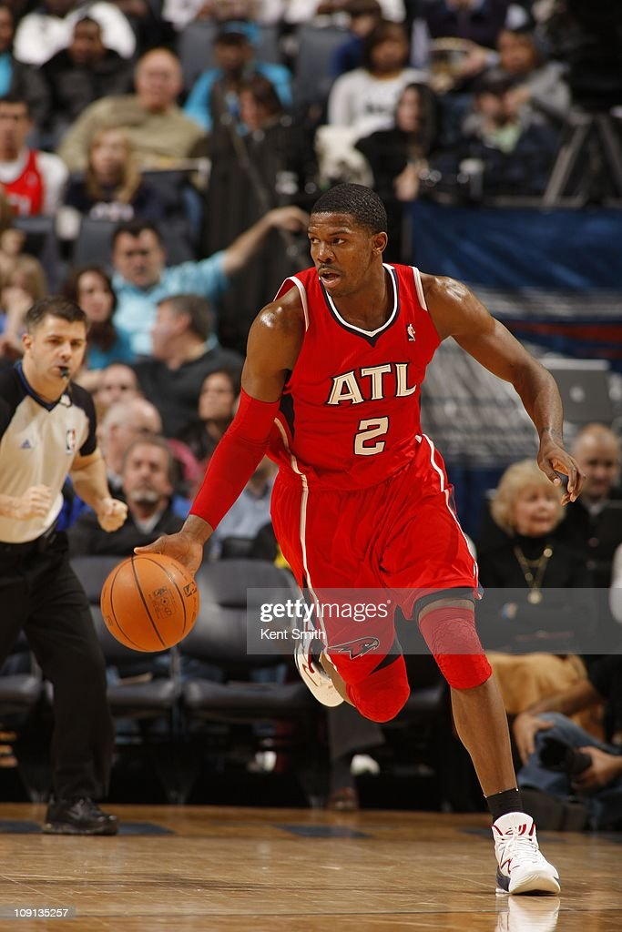 Atlanta Hawks shooting guard <a gi-track='captionPersonalityLinkClicked' href=/galleries/search?phrase=Joe+Johnson+-+Basketball+Player&family=editorial&specificpeople=201652 ng-click='$event.stopPropagation()'>Joe Johnson</a> #2 drives to the basket during the game against the Charlotte Bobcats on January 22, 2011 at Time Warner Cable Arena in Charlotte, North Carolina. The Hawks won 103-87.
