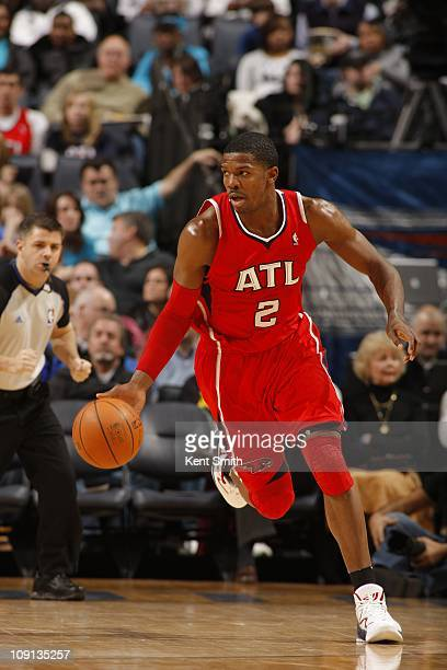 Atlanta Hawks shooting guard Joe Johnson drives to the basket during the game against the Charlotte Bobcats on January 22 2011 at Time Warner Cable...