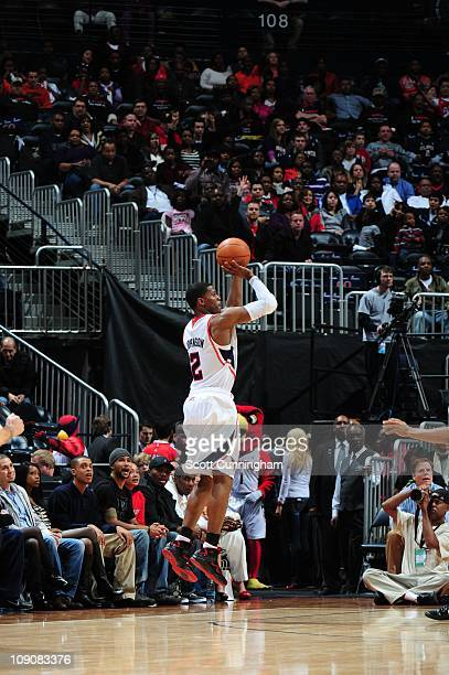 Atlanta Hawks shooting guard Joe Johnson goes for a jump shot during the game against the Charlotte Bobcats on February 12 2011 at Philips Arena in...