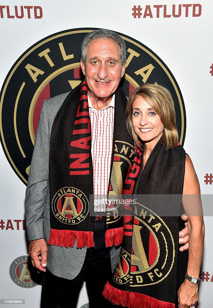 Atlanta owner Arthur Blank and Angela Macuga attend the MLS Atlanta Launch Event at SOHO on July 7 2015 in Atlanta Georgia
