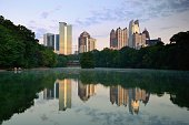 Midtown Atlanta skyline as seen from Lake Meer in Piedmont Park.