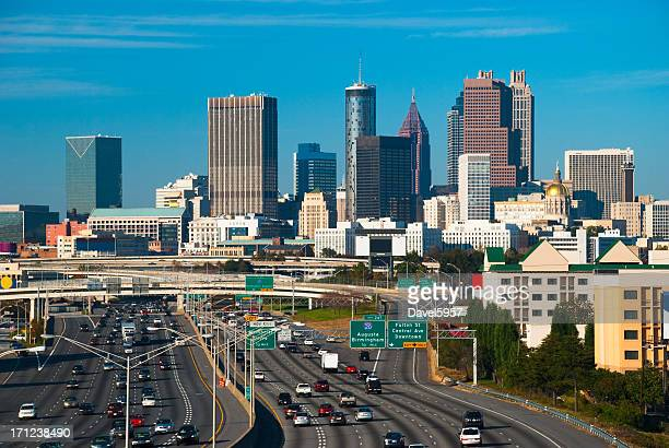 Atlanta skyline and freeway
