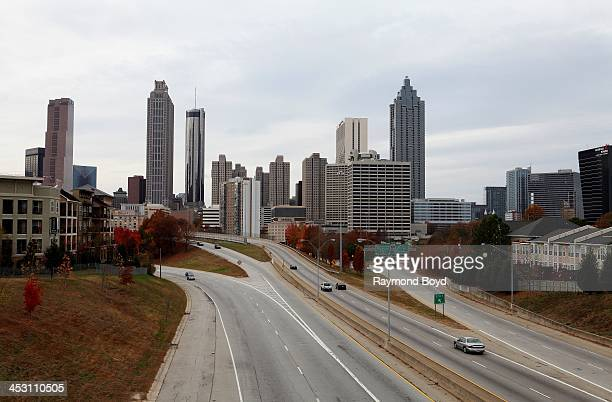Atlanta skyline as photographed from Jackson Street bridge in Atlanta Georgia on NOVEMBER 23 2013