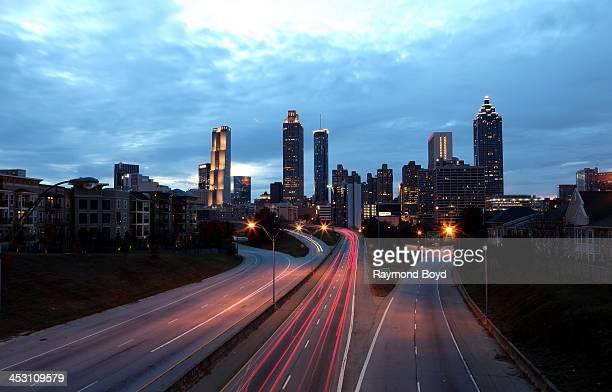 Atlanta skyline at dusk as photographed from Jackson Street bridge in Atlanta Georgia on NOVEMBER 23 2013