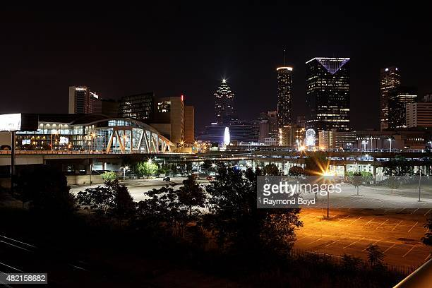 Atlanta skyline at night as photographed from Marietta Street on July 17 2015 in Atlanta Georgia