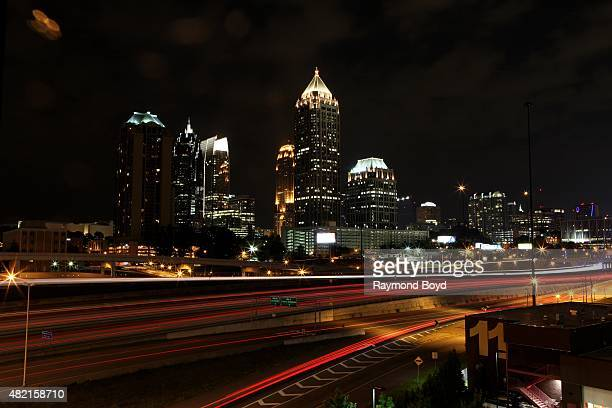 Atlanta skyline at night as photographed from the 18th Street bridge on July 17 2015 in Atlanta Georgia