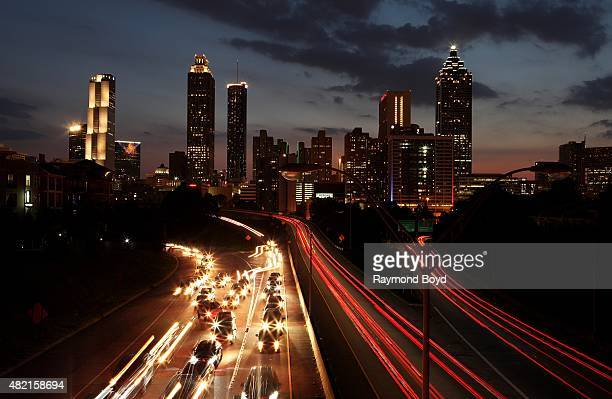 Atlanta skyline at night as photographed from the Jackson Street bridge on July 17 2015 in Atlanta Georgia