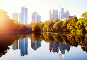 Atlanta Skyline reflected in Piedmont Park lake
