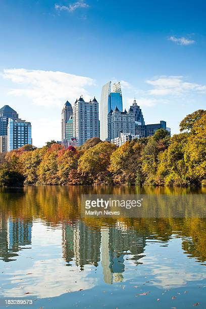 Atlanta skyline reflecting in lake