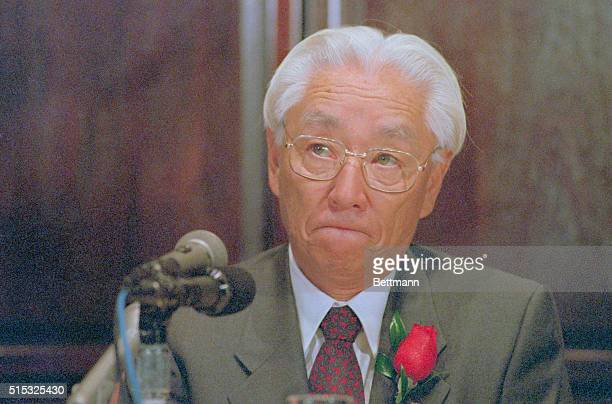 Sony Corp chairman Akio Morita licks his lips as he talks about Japanese investments in the United States saying 'I don't think Americans have to...