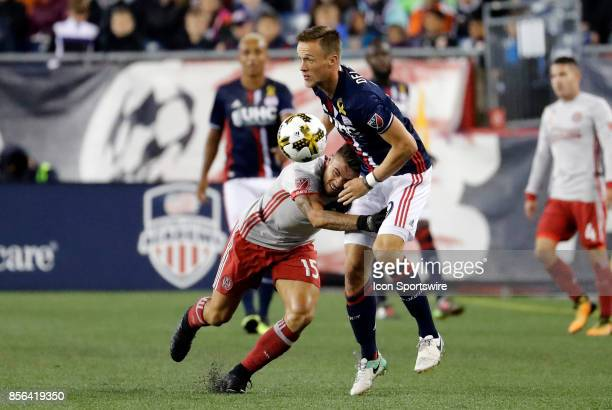 Atlanta United FC forward Hector Villalba crashes into New England Revolution defender Antonio Mlinar Delamea during a match between the New England...