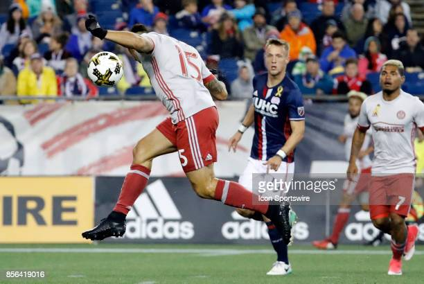 Atlanta United FC forward Hector Villalba heads the ball down during a match between the New England Revolution and Atlanta United FC on September 30...