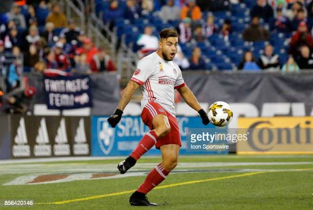 Atlanta United FC forward Hector Villalba plays the ball during a match between the New England Revolution and Atlanta United FC on September 30 at...