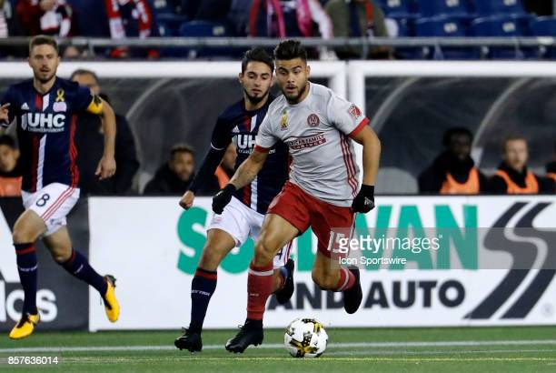 Atlanta United FC forward Hector Villalba pushes the ball up the field during a match between the New England Revolution and Atlanta United FC on...