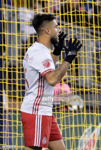 Atlanta United FC forward Hector Villalba reacts to missing a goal during a match between the New England Revolution and Atlanta United FC on...