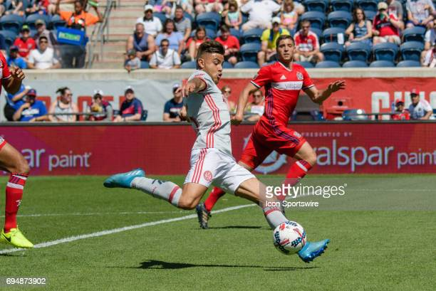 Atlanta United FC forward Hector Villalba shoots on goal in the first half during an MLS soccer match between Atlanta United FC and the Chicago Fire...