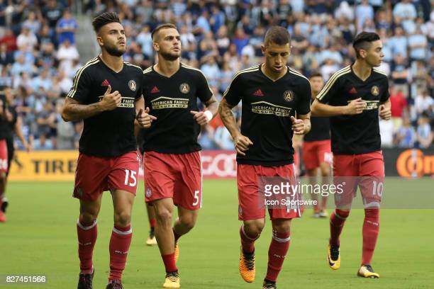 Atlanta United Hector Villalba Leandro Gonzalez Carlos Carmona and Miguel Almiron leave the field after warmups before an MLS match between Atlanta...