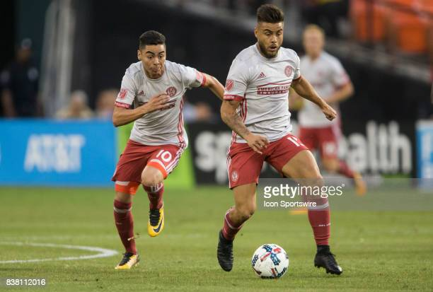 Atlanta United midfielder Miguel Almiron and forward Hector Villalba start an attack during a MLS match on August 23 between DC United and Atlanta...