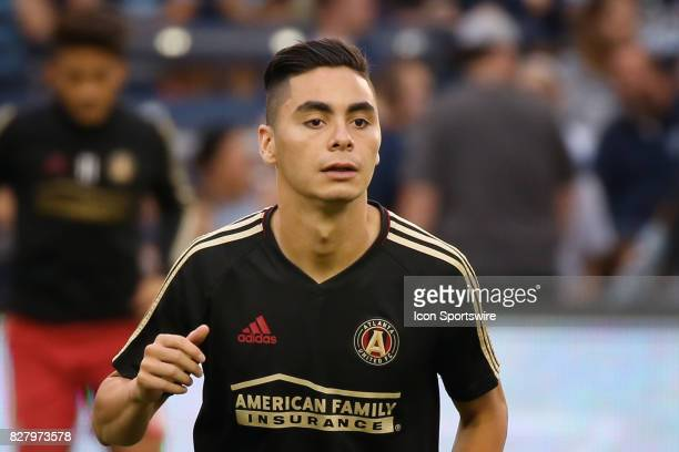 Atlanta United midfielder Miguel Almiron before an MLS match between Atlanta United and Sporting KC on August 6th 2017 at Children's Mercy Park in...