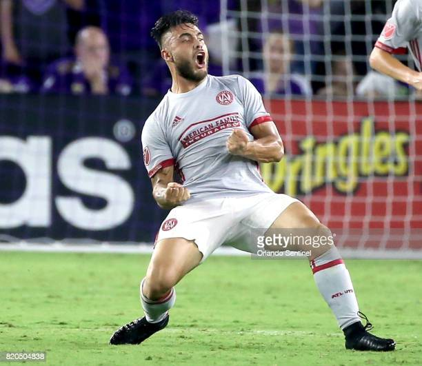 Atlanta United'd Hector Villalba celebrates after scoring a goal against Orlando City at Orlando City Stadium on Friday July 21 in Orlando Fla...
