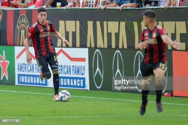 Atlanta United's Miguel Almiron looks to pass upfield during a match between Atlanta United and Columbus Crew on June 17 2017 at Bobby Dodd Stadium...