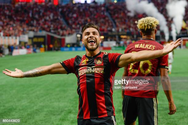 Atlantas Hector Villalba celebrates after Atlanta United score a first half goal during the the match between Atlanta United and LA Galaxy on...