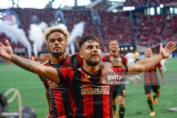 Atlantas Hector Villalba celebrates his goal with teammate Anton Walkes during the first half of the match between Atlanta United and the Montreal...