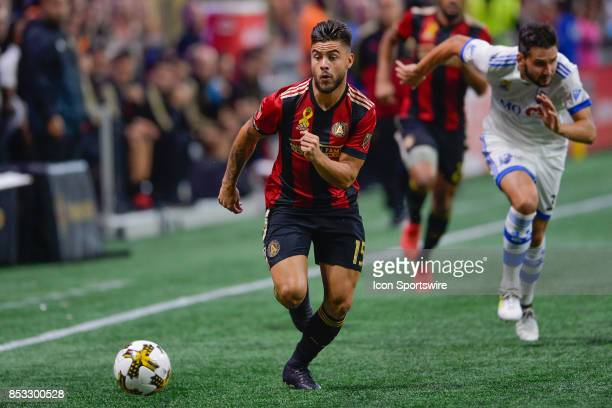 Atlanta's Hector Villalba moves the ball up the field during the match between Atlanta United and the Montreal Impact on September 24 2017 at...