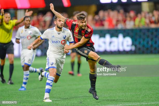 Atlanta's Hector Villalba takes a shot and scores a goal during the match between Atlanta United and the Montreal Impact on September 24 2017 at...