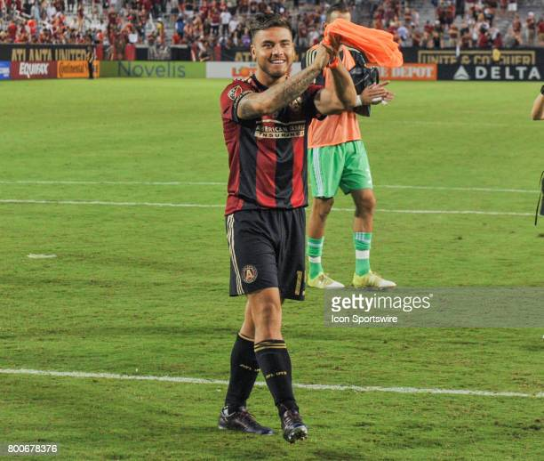 Atlanta's Hector Villalba thanks the fans following a match between Atlanta United and the Colorado Rapids on June 24 2017 at Bobby Dodd Stadium at...