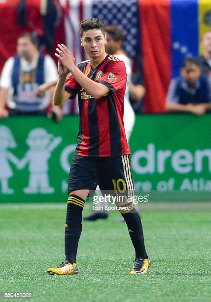 Atlanta's Miguel Almiron applauds the crowd as he is substituted off the field during a match between Atlanta United and LA Galaxy on September 20...
