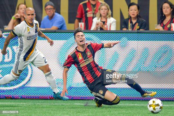 Atlanta's Miguel Almiron is fouled by LA's Rafael Garcia during a match between Atlanta United and LA Galaxy on September 20 2017 at MercedesBenz...