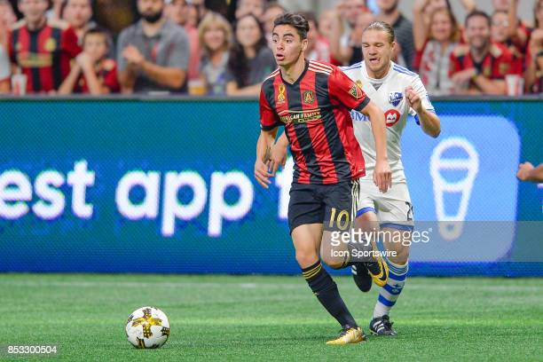 Atlanta's Miguel Almiron looks to pass the ball during the match between Atlanta United and the Montreal Impact on September 24 2017 at MercedesBenz...