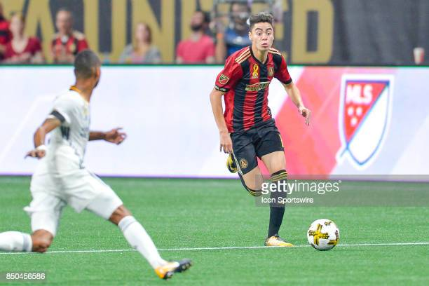 Atlanta's Miguel Almiron moves the ball up the field during a match between Atlanta United and LA Galaxy on September 20 2017 at MercedesBenz Stadium...