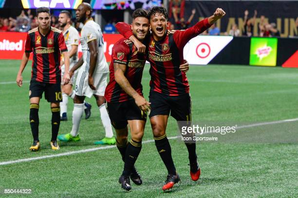 Atlantas Yamil Asad celebrates his goal with teammate Hector Villalba during the first half of the match between Atlanta United and LA Galaxy on...