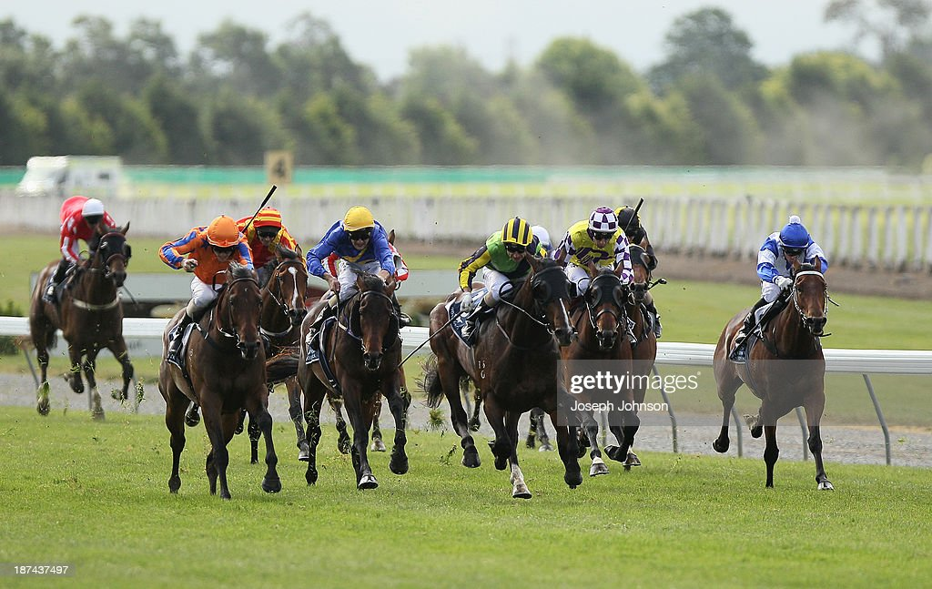 Atlante ridden by Opie Bosson (C) goes on to win the Sothys 41st New Zealand 2000 Guineas during New Zealand 2000 Guineas Day on November 9, 2013 in Christchurch, New Zealand.