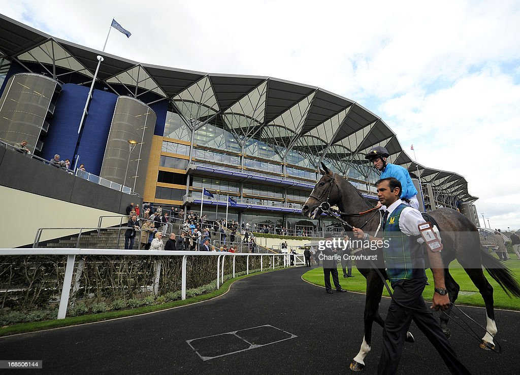 Atlantic Affair ridden by Franny Norton make their way to the track at Ascot racecourse on May 10, 2013 in Ascot, England.