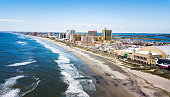 Atlantic city waterline aerial view, New Jersey USA