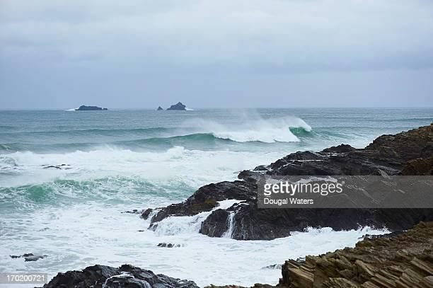 Atlantic coastline with waves crashing.
