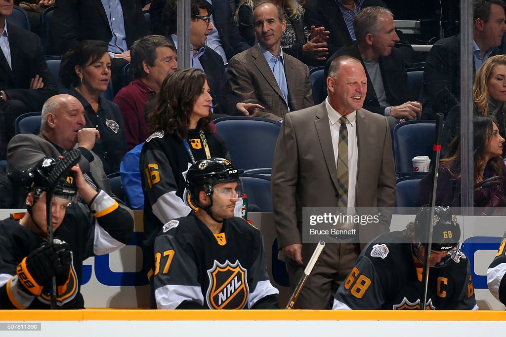 Atlantic Division All-Stars head coach <a gi-track='captionPersonalityLinkClicked' href=/galleries/search?phrase=Gerard+Gallant&family=editorial&specificpeople=704668 ng-click='$event.stopPropagation()'>Gerard Gallant</a> reacts during the Eastern Conference Semifinal Game between the Atlantic Division and the Metropolitan Division as part of the 2016 Honda NHL All-Star Game at Bridgestone Arena on January 31, 2016 in Nashville, Tennessee.