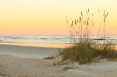 A beach scene shot of the Atlantic Ocean from Anastasia State Park near St. Augustine in Florida.
