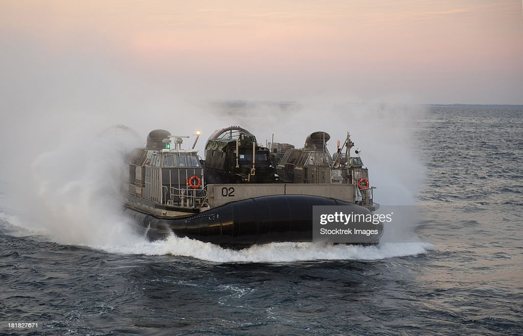 Atlantic Ocean, January 25, 2013 - Landing Craft Air Cushion approaches the well deck of the amphibious transport dock ship USS San Antonio.