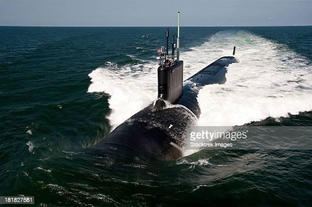 Atlantic Ocean, June 30, 2011 - The Virginia-class attack submarine USS California (SSN 781) underway during sea trials.