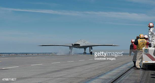 Atlantic Ocean, May 14, 2013 - An X-47B Unmanned Combat Air System (UCAS) demonstrator launches from the flight deck of the aircraft carrier USS George H.W. Bush.