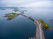 Atlantic Ocean Road or the Atlantic Road (Atlanterhavsveien) been awarded the title as 'Norwegian Construction of the Century'. The road classified as a National Tourist Route. Aerial photography