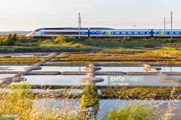 TGV Atlantique arriving in Le Croisic South Brittany France july 2014