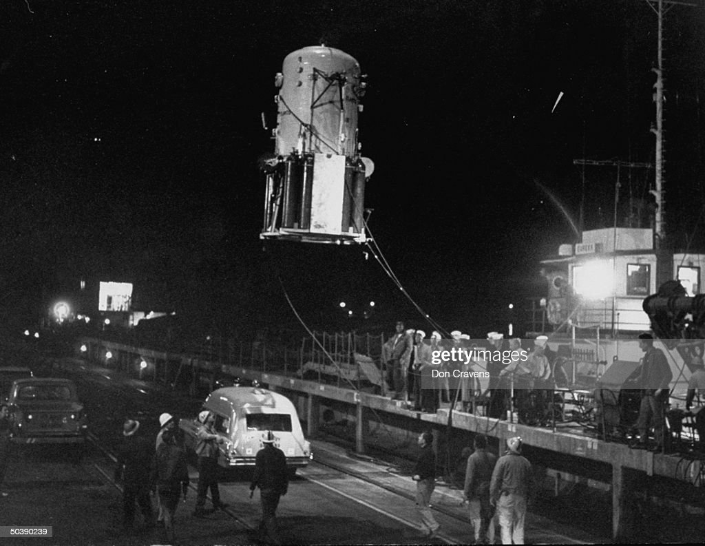 Atlantis being lifted out of water after record-breaking 1000 ft. dive by London journalist Peter Small and Swiss inventor Hannes Keller.