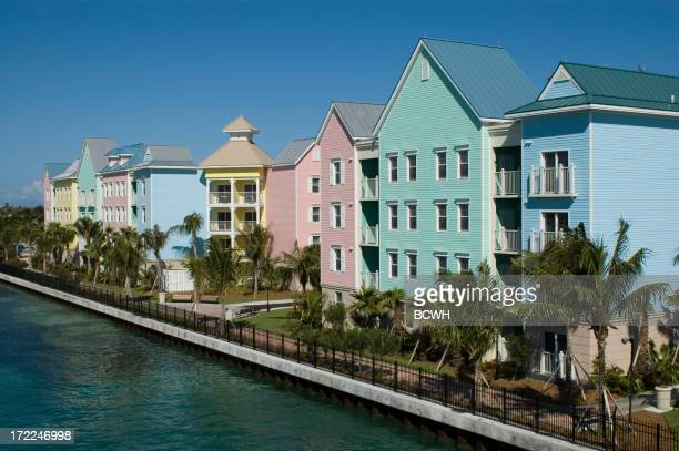 Atlantis Resort. Hotel and Village, Colorful buildings, Nassau, Bahamas