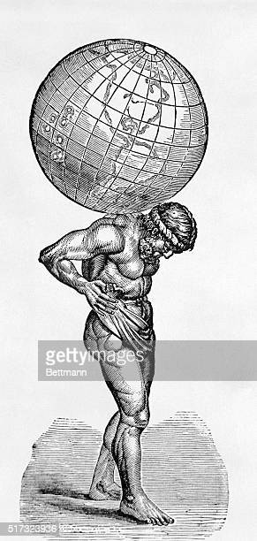 Atlas carrying the globe on his back Silhouetted woodcut ca 1880 BPA2# 2992