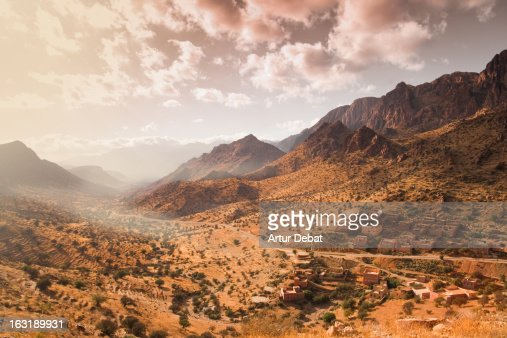Atlas mountains with town in Morocco.